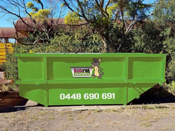 10 metre cube Skip Bin with Big Rat logo and phone number
