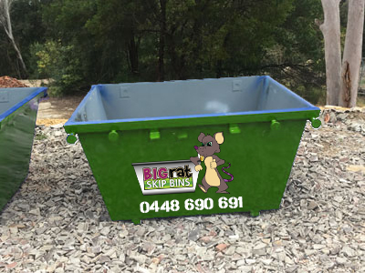 2 metre cube Skip Bin with Big Rat logo and phone number