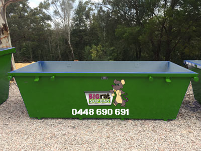 4 metre cube Skip Bin with Big Rat logo and phone number